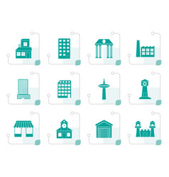 Stylized different kind of building and city icons vector