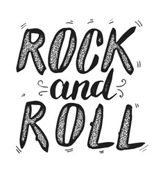 Rock and roll hand drawn lettering phrase vector