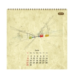 Calendar 2014 june Streets of the city sketch for vector image