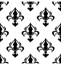 Seamless floral pattern with abstract black lilies vector