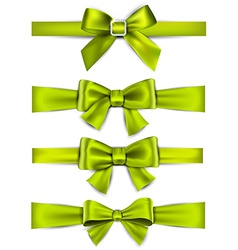 Satin green ribbons gift bows vector
