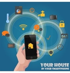 Smart home detectors controlling concept via phone vector