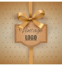 Vintage label with a yellow bow vector