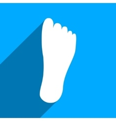 Foot sole flat square icon with long shadow vector