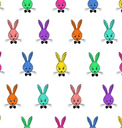Seamless pattern with rabbits faces vector