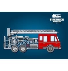 Fire truck icon with mechanical details vector