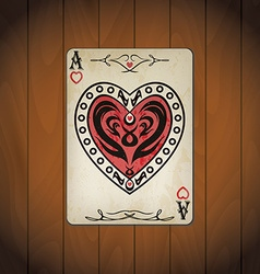Ace hearts poker cards old look varnished wood vector image
