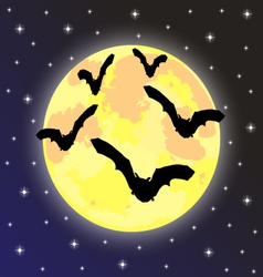 bats on the background of the full moon vector image
