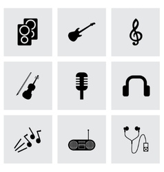 black music icons set vector image vector image