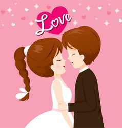 Bride and groom in wedding clothing will kiss vector