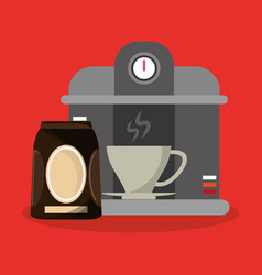 Colorful background coffee espresso machine and vector