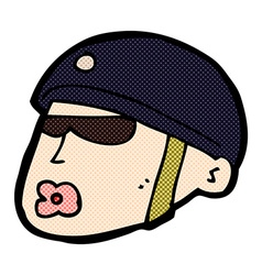 Comic cartoon policeman head vector