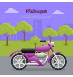 Contemporary violet motorcycle on road in big city vector