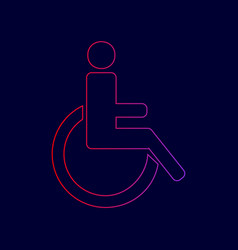 Disabled sign line icon with vector