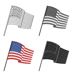 Flag of the united states icon in cartoon style vector