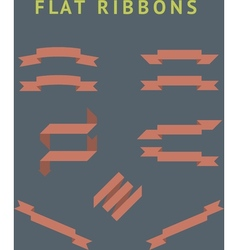 Flat red ribbons vector