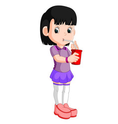 girl drinking from a can vector image