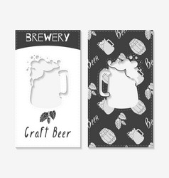 Hand drawn silhouettes brewery business cards vector