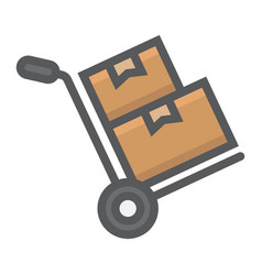 Hand truck with boxes filled outline icon vector