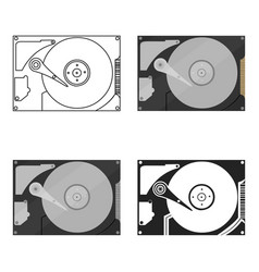Hard disk icon in cartoon style isolated on white vector