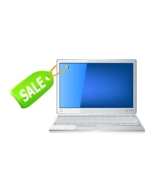 Icon of the laptop and sale tag vector