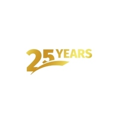 Isolated abstract golden 25th anniversary logo on vector