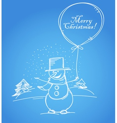 Merry christmas from smiling snowman vector