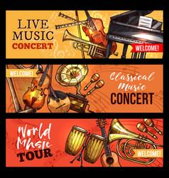 Music concert banners sketch instruments vector