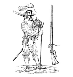Musketeer vintage engraving vector