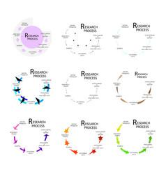 Nine set of qualitative and quantitative research vector