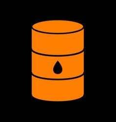 Oil barrel sign orange icon on black background vector