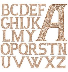 Paisley henna alphabet full vector