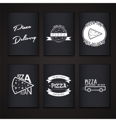 Pizza delivery the food and service labels or vector