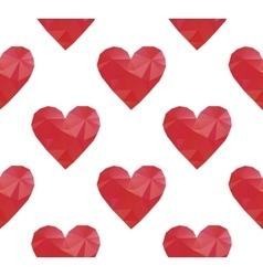 polygonal red hearts vector image vector image