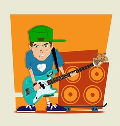 Punk rock boy bass player vector
