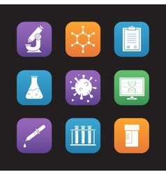Science laboratory tools icons vector