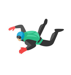 Skydiver man parachutist extreme sport freedom vector