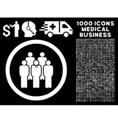 Staff rounded icon with medical bonus vector