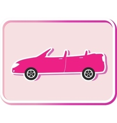 sticker with cabriolet image vector image