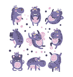 Stylized hippo with polka-dotted pattern vector