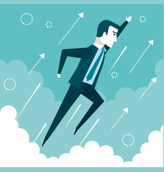 Successful businessman flying in the sky success vector
