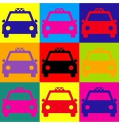 Taxi sign Pop-art style icons set vector image vector image