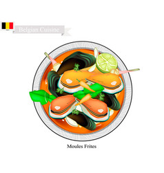 Tom yum or thai spicy and sour soup with mussels vector