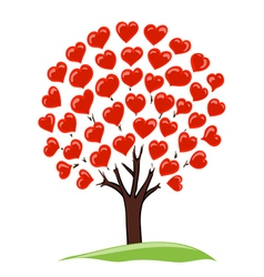 tree with hearts vector image vector image