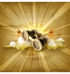 Vintage binoculars old style background vector image vector image