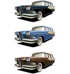 vintage station-wagons vector image