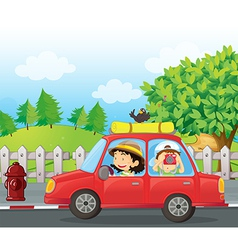 Cartoon roadtrip car vector