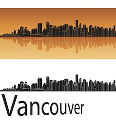 Vancouver skyline in orange background vector