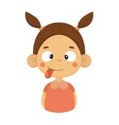 Silly and joking little girl flat cartoon portrait vector