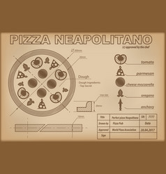 Pizza neapolitano ingredients draw scheme vector